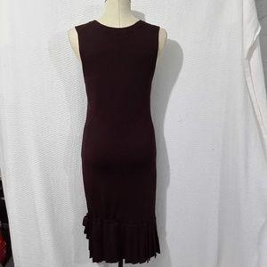 BCBGMaxAzria Dresses - BCBGMAXAZRIA BROWN PLEATED DOWN SLEEVELESS DRESS M